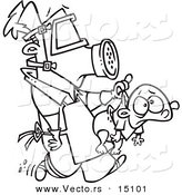 Vector of a Cartoon New Dad Wearing Protective Gear and Carrying a Baby - Coloring Page Outline by Toonaday