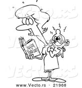 Vector of a Cartoon New Mom Reading a Parenting Book - Outlined Coloring Page by Ron Leishman