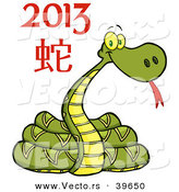 Vector of a Cartoon New Year 2013 Snake by Hit Toon