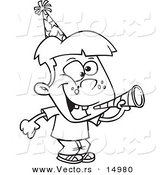 Vector of a Cartoon New Year Boy with a Horn - Coloring Page Outline by Toonaday