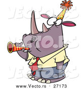 August 30th, 2015: Vector of a Cartoon New Year Rhino Business Man Blowing a Horn by Toonaday