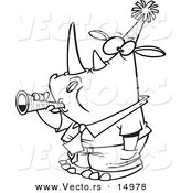 Vector of a Cartoon New Year Rhino Businessman Blowing a Horn - Coloring Page Outline by Toonaday