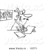 Vector of a Cartoon News Anchorman Reading - Outlined Coloring Page Drawing by Toonaday