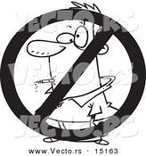 Vector of a Cartoon No Smoking Sign - Coloring Page Outline by Toonaday