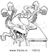 Vector of a Cartoon Octopus Bartender Serving Beer - Coloring Page Outline by Toonaday