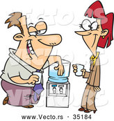Vector of a Cartoon Offic Employees Flirting at the Water Cooler by Ron Leishman