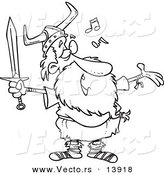 Vector of a Cartoon Old Male Viking Holding a Sword and Singing - Coloring Page Outline by Toonaday