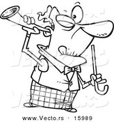 Vector of a Cartoon Old Man Holding a Trumpet up to His Ear - Outlined Coloring Page Drawing by Toonaday