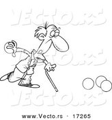 Vector of a Cartoon Old Man Playing Bowls - Coloring Page Outline by Toonaday