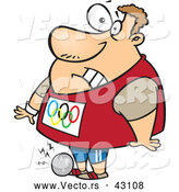 Vector of a Cartoon Olympic Track and Field Shotput Athlete Man Dropping the Ball on His Foot by Toonaday
