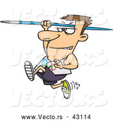 Vector of a Cartoon Olympics Track and Field Javelin Thrower Man Running and Preparing to Throw by Ron Leishman