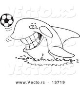 Vector of a Cartoon Orca Playing with a Soccer Ball - Coloring Page Outline by Ron Leishman