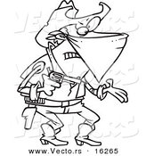 Vector of a Cartoon Outlaw Cowboy Demanding - Outlined Coloring Page Drawing by Ron Leishman