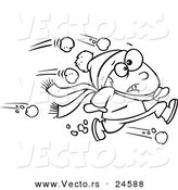 Vector of a Cartoon Outnumbered Boy Running from Snowballs - Outlined Coloring Page by Toonaday