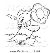 Vector of a Cartoon Overboard Man Floating on Wood - Outlined Coloring Page by Toonaday