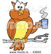 Vector of a Cartoon Owl in a Tree with a Hot Cup of Coffee by LaffToon