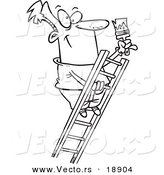 Vector of a Cartoon Painter Climbing a Ladder - Outlined Coloring Page by Toonaday