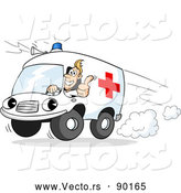 Vector of a Cartoon Paramedic Ambulance Rushing to Emergency Scene by Holger Bogen