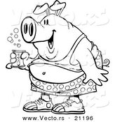 Vector of a Cartoon Party Pig Holding Beer - Coloring Page Outline by Ron Leishman