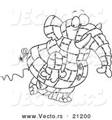 Vector of a Cartoon Patchwork Elephant - Coloring Page Outline by Toonaday