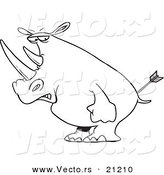 Vector of a Cartoon Peeved Rhino - Coloring Page Outline by Toonaday