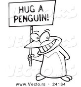 Vector of a Cartoon Penguin Holding a Hug a Penguin Awareness Sign - Coloring Page Outline by Ron Leishman