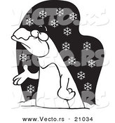 Vector of a Cartoon Penguin in the Snow - Coloring Page Outline by Toonaday