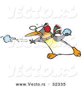 Vector of a Cartoon Penguin Throwing Snow Balls by Toonaday