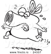Vector of a Cartoon Pig Crying and Running - Outlined Coloring Page by Ron Leishman