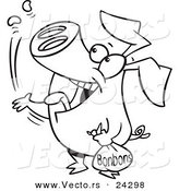 Vector of a Cartoon Pig Popping Bon Bons Black and White Outline - Outlined Coloring Page by Ron Leishman