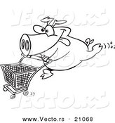 Vector of a Cartoon Pig Pushing a Shopping Cart - Coloring Page Outline by Toonaday