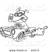 Vector of a Cartoon Pig Racing a Hot Rod Black and White Outline - Outlined Coloring Page by Ron Leishman