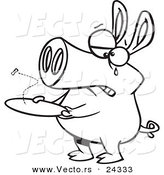 Vector of a Cartoon Pig with an Empty Plate - Outlined Coloring Page by Toonaday