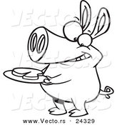Vector of a Cartoon Pig with Meat on a Plate - Outlined Coloring Page by Ron Leishman