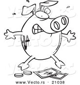 Vector of a Cartoon Piggy Bank over Money - Coloring Page Outline by Toonaday