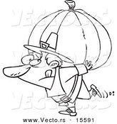 Vector of a Cartoon Pilgrim Carrying a Heavy Pumpkin - Coloring Page Outline by Toonaday