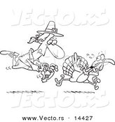 Vector of a Cartoon Pilgrim Chasing a Turkey Bird - Coloring Page Outline by Toonaday