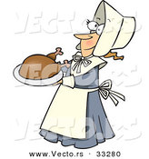 Vector of a Cartoon Pilgrim Lady Serving Turkey on a Dish by Toonaday