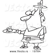 Vector of a Cartoon Pilgrim Man Carrying a Meagre Meal - Outlined Coloring Page by Toonaday