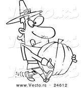 Vector of a Cartoon Pilgrim Man Carrying a Pumpkin - Outlined Coloring Page by Toonaday