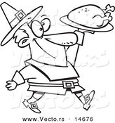 Vector of a Cartoon Pilgrim Man Carrying a Roasted Turkey - Coloring Page Outline by Toonaday