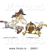 Vector of a Cartoon Pilgrim Man Running After a Turkey by Toonaday