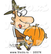 Vector of a Cartoon Pilgrim Man Trying to Carry a Heavy Pumpkin by Himself by Toonaday