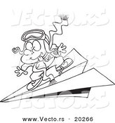 Vector of a Cartoon Pilot Boy Flying on a Paper Plane - Outlined Coloring Page by Toonaday