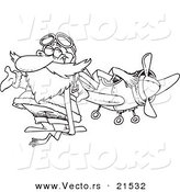 Vector of a Cartoon Pilot Santa - Outlined Coloring Page by Toonaday