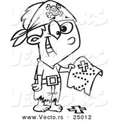 Vector of a Cartoon Pirate Boy Holding a Map over the X on the Ground - Outlined Coloring Page by Toonaday