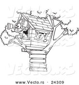 Vector of a Cartoon Pirate Boy in His Tree House Black and White Outline - Outlined Coloring Page by Toonaday