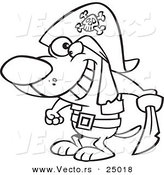 Vector of a Cartoon Pirate Dog Holding a Sword - Outlined Coloring Page by Toonaday