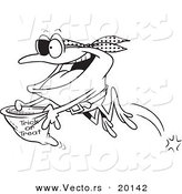 Vector of a Cartoon Pirate Frog Trick or Treating - Outlined Coloring Page by Toonaday