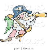 Vector of a Cartoon Pirate Looking Through a Telescope, His Green Parrot on His Arm by Gnurf